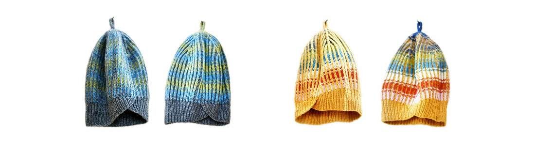 Knitted i-cord loops on top of the Casazul reversible hats: by La Maison Rililie Designs