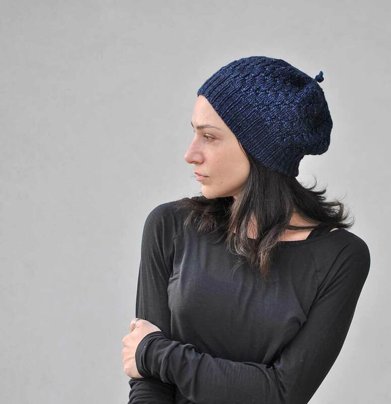The Reverse&Shift hat pattern by La Maison Rililie Designs, with an i-cord knot on the top