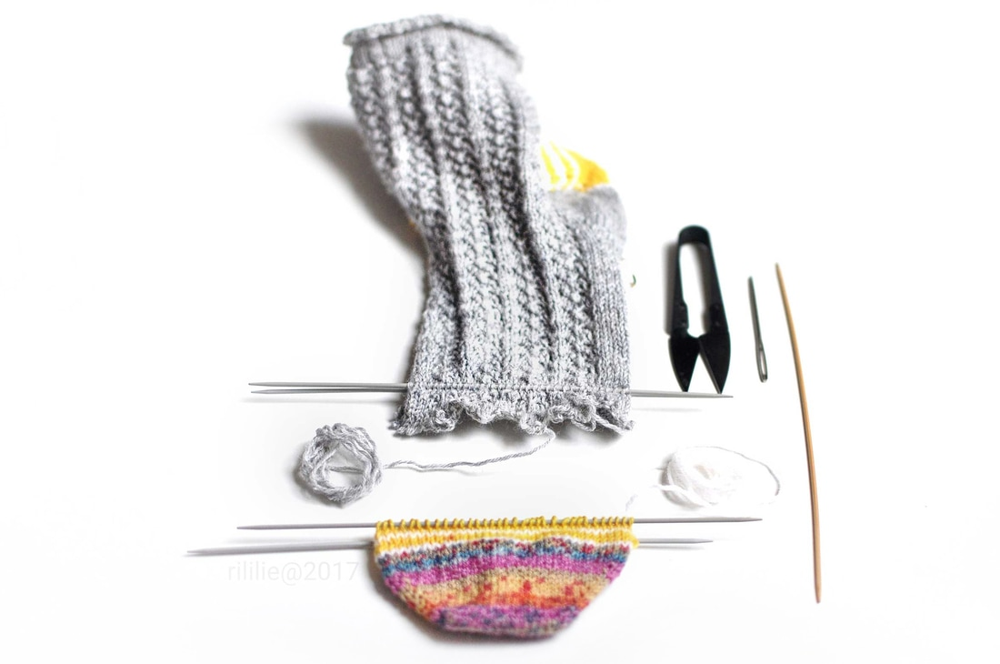 Shortening of a knitted sock: A tutorial on knittingtherapy by rililie